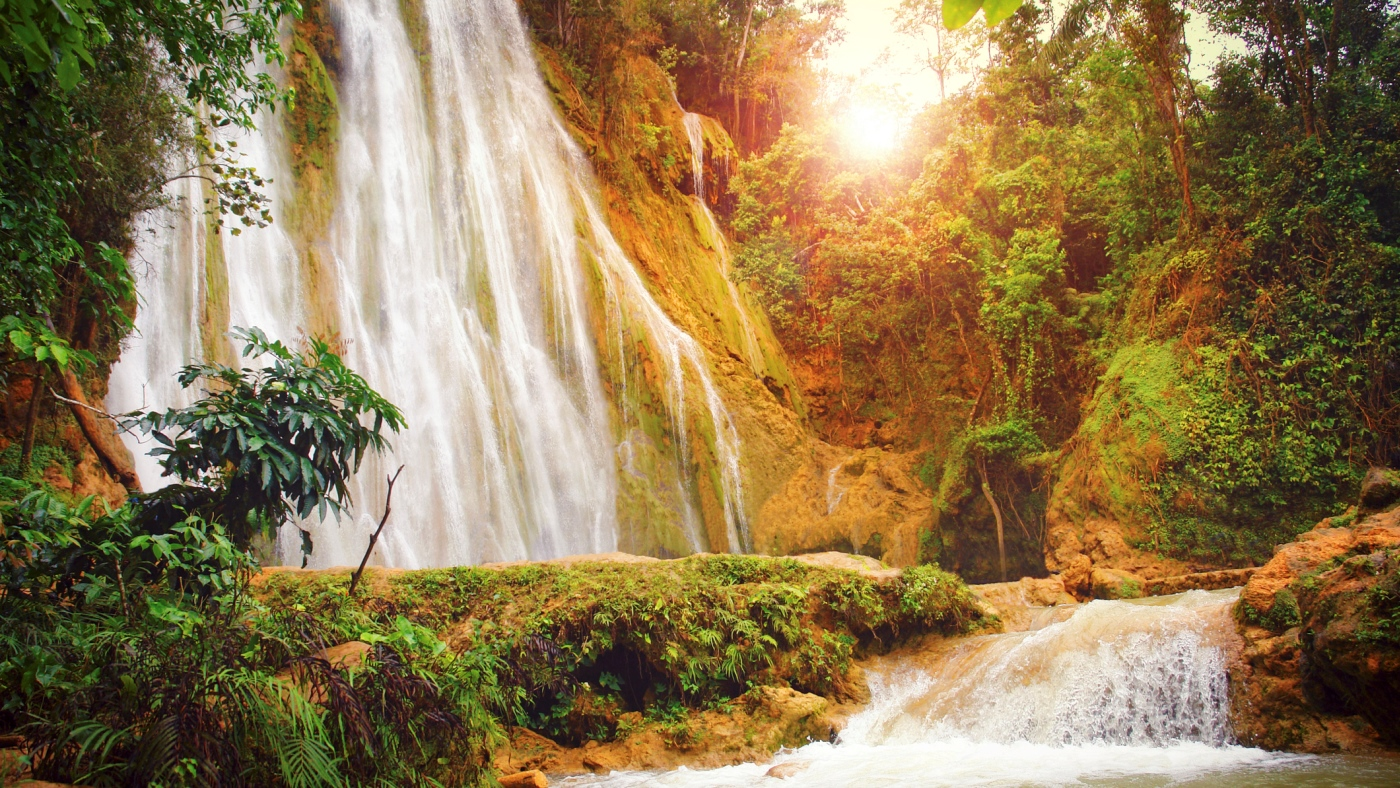 Dominican Republic Limon Waterfall at sunset